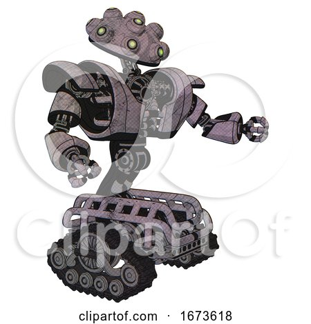 Robot Containing Techno Multi-eyed Domehead Design and Heavy Upper Chest and Heavy Mech Chest and Tank Tracks. Sketch Fast Lines. Interacting. by Leo Blanchette