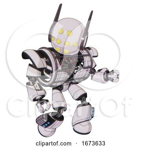 Automaton Containing Round Head and Yellow Eyes Array and Head Winglets and Heavy Upper Chest and Heavy Mech Chest and Barbed Wire Chest Armor Cage and Light Leg Exoshielding . by Leo Blanchette