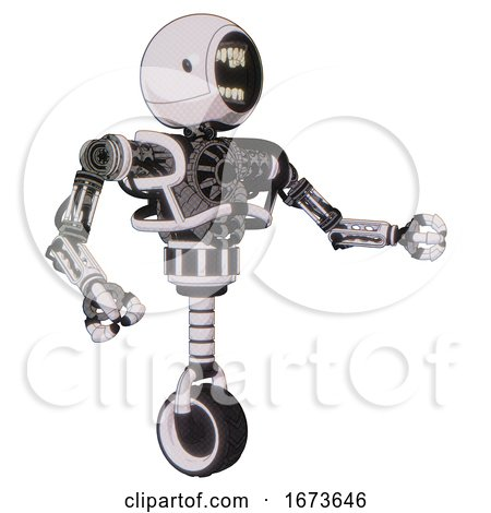 Bot Containing Round Head Chomper Design and Heavy Upper Chest and No Chest Plating and Unicycle Wheel. White Halftone Toon. Interacting. by Leo Blanchette