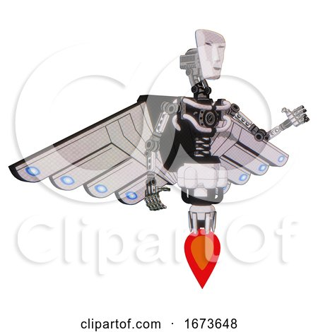 Mech Containing Humanoid Face Mask and Light Chest Exoshielding and Cherub Wings Design and No Chest Plating and Jet Propulsion. White Halftone Toon. Interacting. by Leo Blanchette