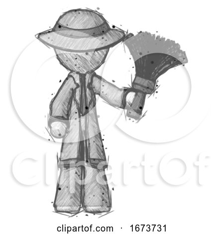 Sketch Detective Man Holding Feather Duster Facing Forward by Leo Blanchette