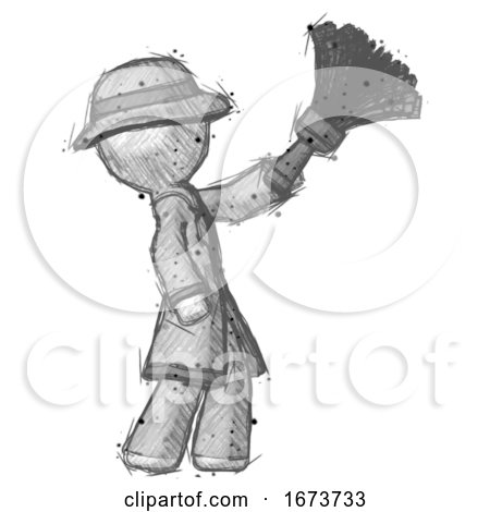 Sketch Detective Man Dusting with Feather Duster Upwards by Leo Blanchette