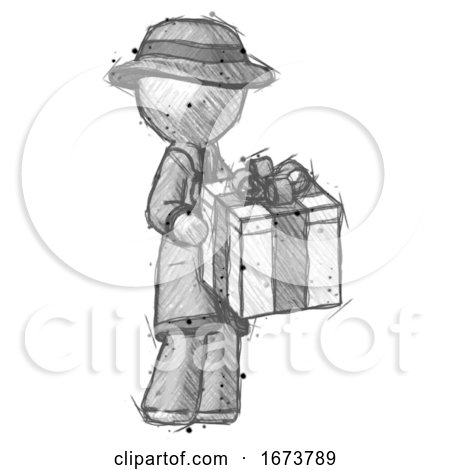 Sketch Detective Man Giving a Present by Leo Blanchette