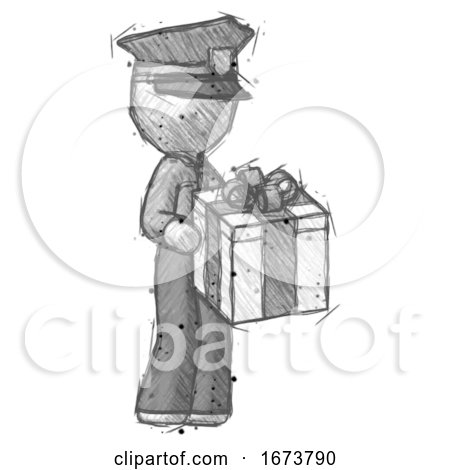 Sketch Police Man Giving a Present by Leo Blanchette