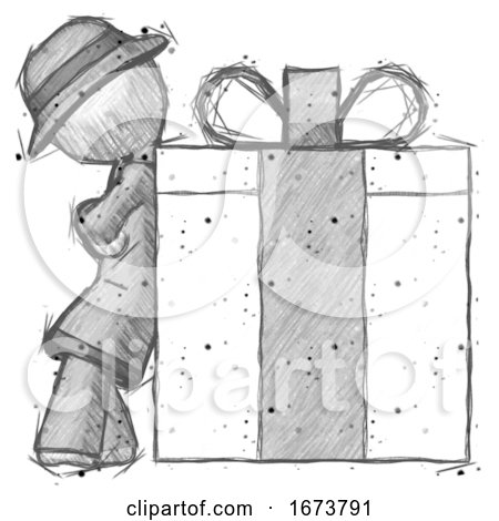 Sketch Detective Man Gift Concept - Leaning Against Large Present by Leo Blanchette