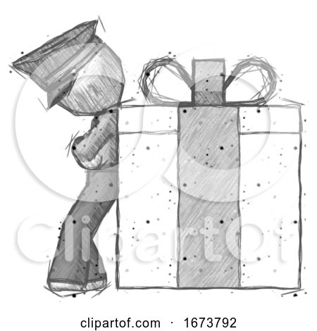 Sketch Police Man Gift Concept - Leaning Against Large Present by Leo Blanchette