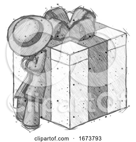 Sketch Detective Man Leaning on Gift with Bow Angle View by Leo Blanchette