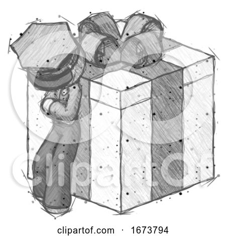 Sketch Police Man Leaning on Gift with Bow Angle View by Leo Blanchette