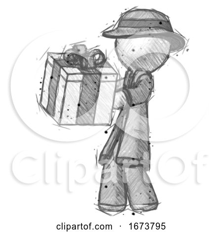 Sketch Detective Man Presenting a Present with Large Bow on It by Leo Blanchette