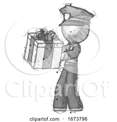 Sketch Police Man Presenting a Present with Large Bow on It by Leo Blanchette