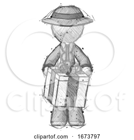 Sketch Detective Man Gifting Present with Large Bow Front View by Leo Blanchette