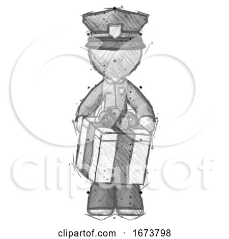 Sketch Police Man Gifting Present with Large Bow Front View by Leo Blanchette