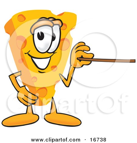 Clipart Picture of a Wedge of Orange Swiss Cheese Mascot Cartoon Character Using a Pointer Stick and Pointing to the Right by Toons4Biz