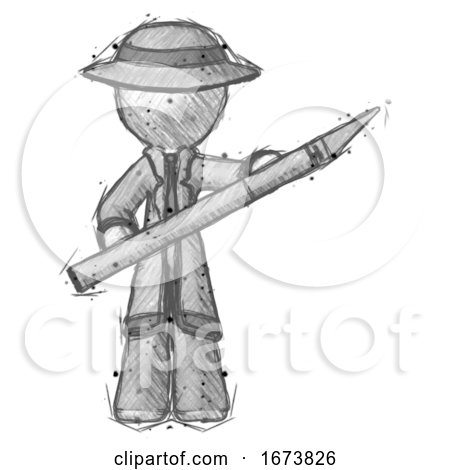 Sketch Detective Man Holding Large Scalpel by Leo Blanchette