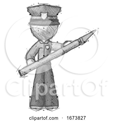 Sketch Police Man Holding Large Scalpel by Leo Blanchette