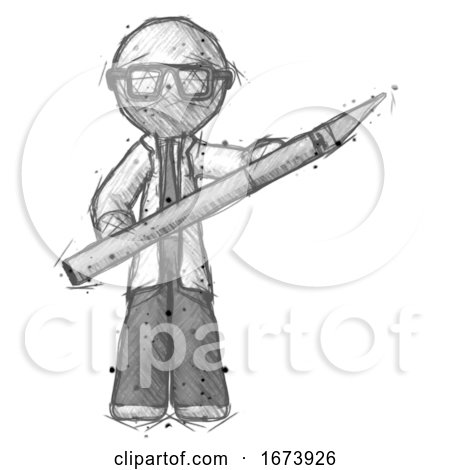 Sketch Doctor Scientist Man Holding Large Scalpel by Leo Blanchette
