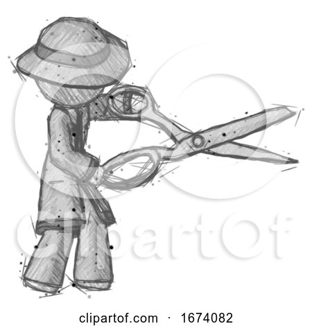 Sketch Detective Man Holding Giant Scissors Cutting out Something by Leo Blanchette