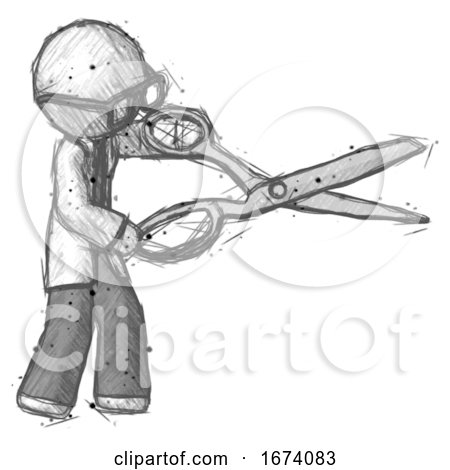Sketch Doctor Scientist Man Holding Giant Scissors Cutting out Something by Leo Blanchette