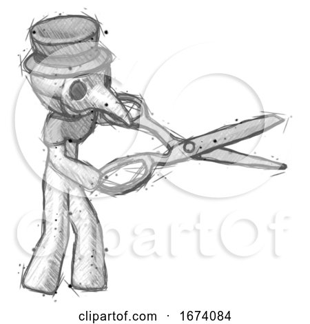 Sketch Plague Doctor Man Holding Giant Scissors Cutting out Something by Leo Blanchette