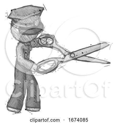 Sketch Police Man Holding Giant Scissors Cutting out Something by Leo Blanchette