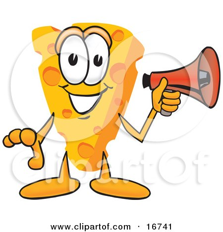 Clipart Picture of a Wedge of Orange Swiss Cheese Mascot Cartoon Character Holding a Red Bullhorn Megaphone and Preparing to Make an Announcement by Toons4Biz