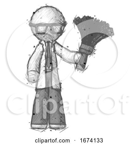 Sketch Doctor Scientist Man Holding Feather Duster Facing Forward by Leo Blanchette