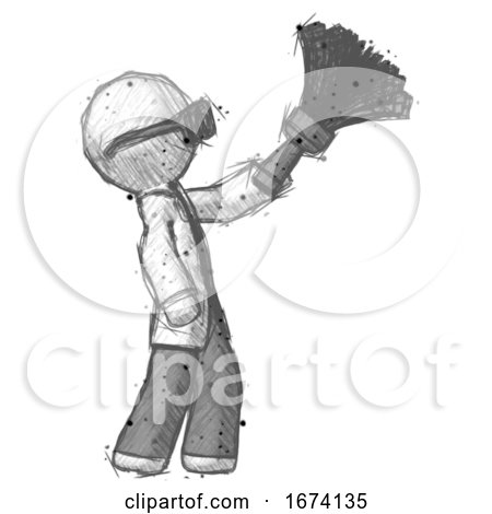 Sketch Doctor Scientist Man Dusting with Feather Duster Upwards by Leo Blanchette