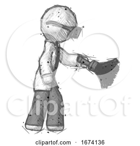 Sketch Doctor Scientist Man Dusting with Feather Duster Downwards by Leo Blanchette