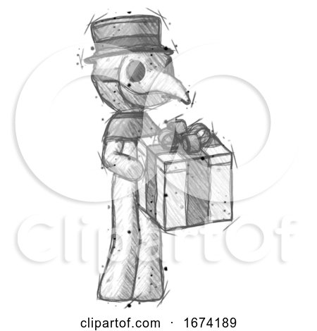 Sketch Plague Doctor Man Giving a Present by Leo Blanchette