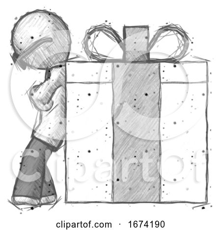 Sketch Doctor Scientist Man Gift Concept - Leaning Against Large Present by Leo Blanchette