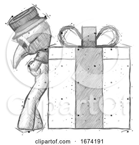 Sketch Plague Doctor Man Gift Concept - Leaning Against Large Present by Leo Blanchette