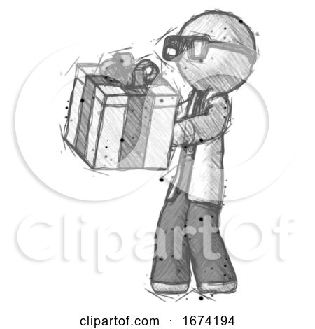 Sketch Doctor Scientist Man Presenting a Present with Large Bow on It by Leo Blanchette
