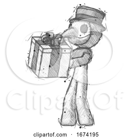 Sketch Plague Doctor Man Presenting a Present with Large Bow on It by Leo Blanchette
