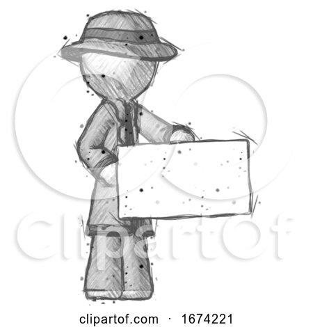 Sketch Detective Man Presenting Large Envelope Posters, Art Prints