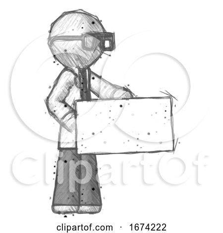 Sketch Doctor Scientist Man Presenting Large Envelope Posters, Art Prints