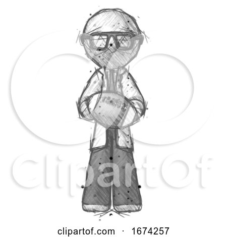 Sketch Doctor Scientist Man Giving Football to You by Leo Blanchette