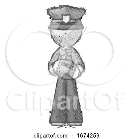 Sketch Police Man Giving Football to You by Leo Blanchette