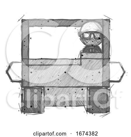 Sketch Doctor Scientist Man Driving Amphibious Tracked Vehicle Front View by Leo Blanchette