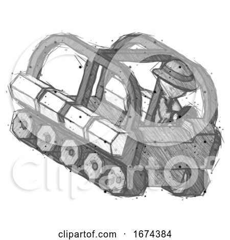 Sketch Detective Man Driving Amphibious Tracked Vehicle Top Angle View by Leo Blanchette