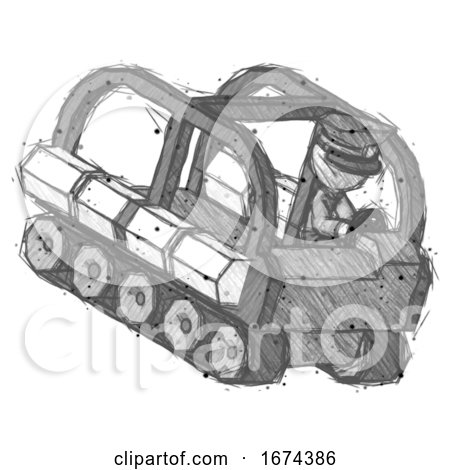 Sketch Police Man Driving Amphibious Tracked Vehicle Top Angle View by Leo Blanchette