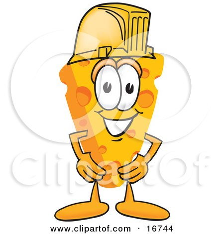 Clipart Picture of a Wedge of Orange Swiss Cheese Mascot Cartoon Character Wearing a Yellow Hardhat by Toons4Biz
