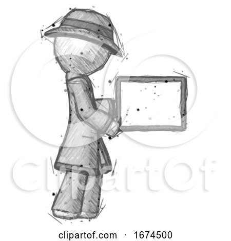 Sketch Detective Man Show Tablet Device Computer to Viewer, Blank Area by Leo Blanchette
