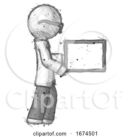 Sketch Doctor Scientist Man Show Tablet Device Computer to Viewer, Blank Area by Leo Blanchette