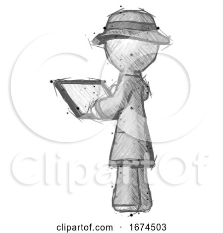 Sketch Detective Man Looking at Tablet Device Computer with Back to Viewer by Leo Blanchette