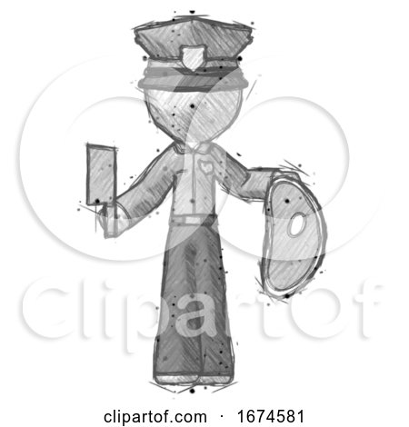 Sketch Police Man Holding Large Steak with Butcher Knife by Leo Blanchette