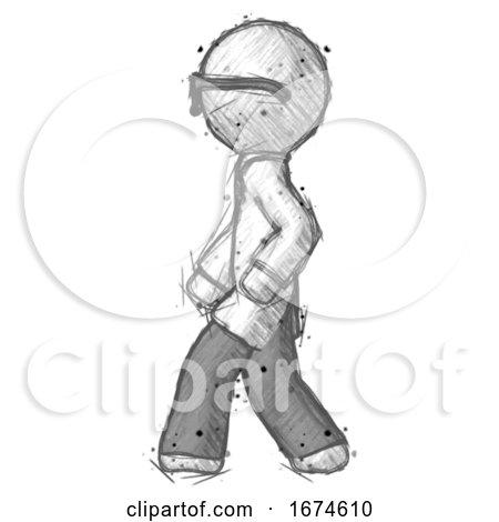 Sketch Doctor Scientist Man Walking Left Side View by Leo Blanchette