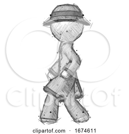 Sketch Detective Man Walking Left Side View by Leo Blanchette
