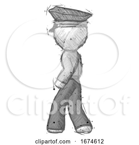 Sketch Police Man Walking Away Direction Left View by Leo Blanchette