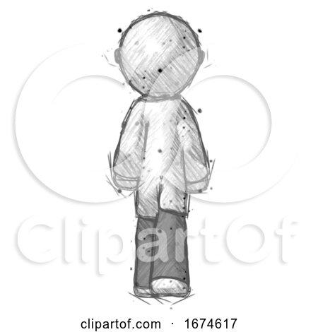 Sketch Doctor Scientist Man Walking Away, Back View by Leo Blanchette