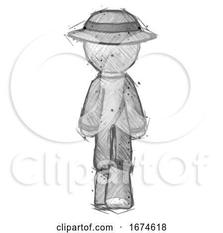 Sketch Detective Man Walking Away, Back View by Leo Blanchette